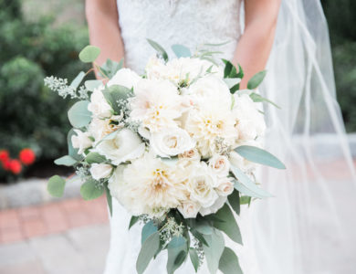 Beautiful flower bouquet held by the bride